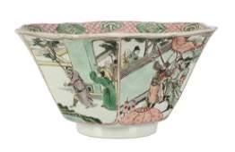 A Chinese Famille Verte hexagonal bowl, Kangxi