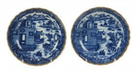 A Pair Of Chinese Blue And White Saucers, Qianlong