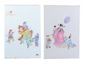 Two Chinese Famille Rose Porcelain Plaques, Early 20th