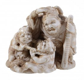 An Ivory Netsuke Of Shoki, The Demon Queller