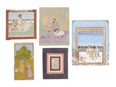 Five Indian miniature paintings  Provincial Mughal