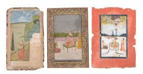 Three Indian Miniature Paintings , Rajasthan, 18th