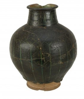 A Large Kashan Silhouette Ware Turquoise Glazed Vase,