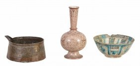 A Quantity Of Islamic Pottery And Metal Ware, Mostly