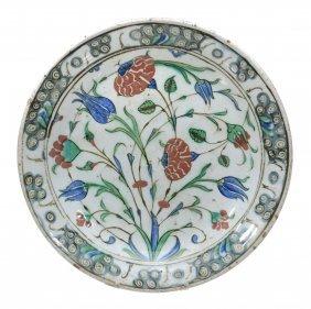 An Isnik Pottery Dish, Ottoman Turkey, Circa 1600, The
