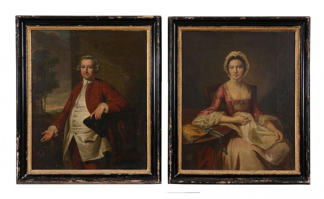 British School (18th century) - A pair of three quarter