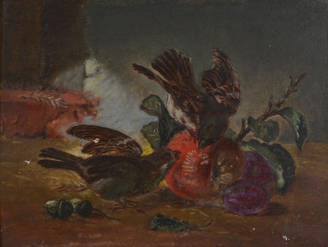 English School (19th century) - Still life of birds and