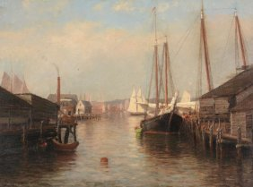 Laura Woodward (1834-1926) - An American Harbour Scene