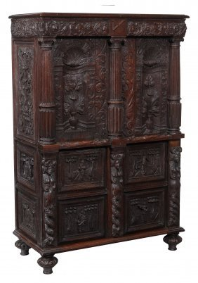 A Carved And Stained Collector's Or Surgeon's Cabinet