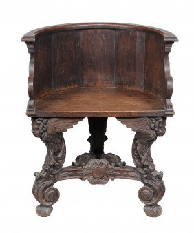 An Italian Carved Walnut Tub Chair , 19th Century, 82cm