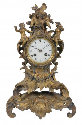 A French Gilt-bronze Mantel Clock In Loius Xv Style,