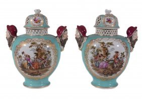 A Pair Of Dresden Pale-blue-ground Vases And Domed And