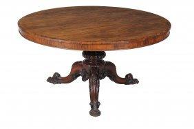 A William Iv Circular Rosewood Breakfast Table, Circa