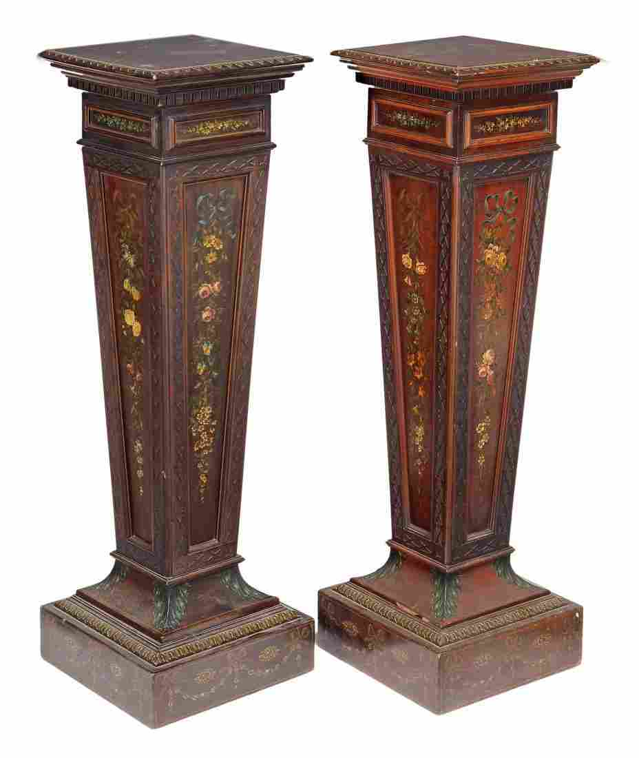 A pair of Edwardian mahogany and polychrome painted