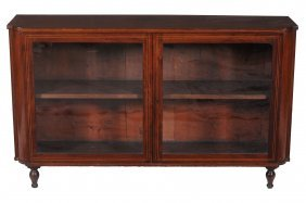 A George Iv Mahogany And Inlaid Low Bookcase , Circa