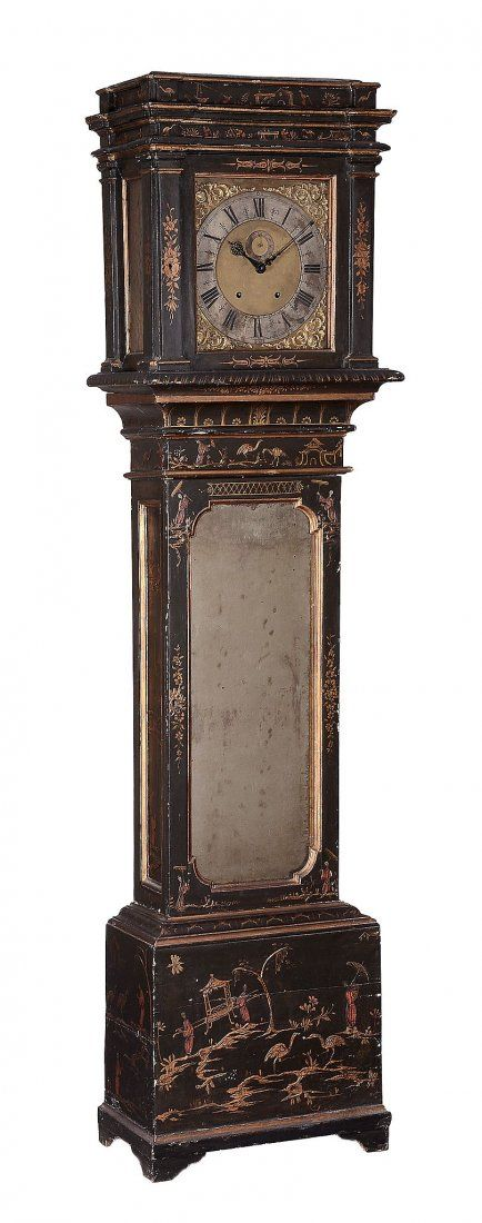 A Continental brown japanned longcase clock Unsigned