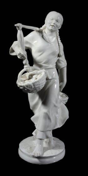 A Meissen White Porcelain Model Of A Korean Girl,