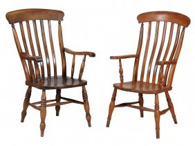 Two Victorian Elm And Beech High Back Windsor Armchairs