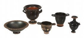 Five Black Glazed Greek Pottery Vessels, Greek South