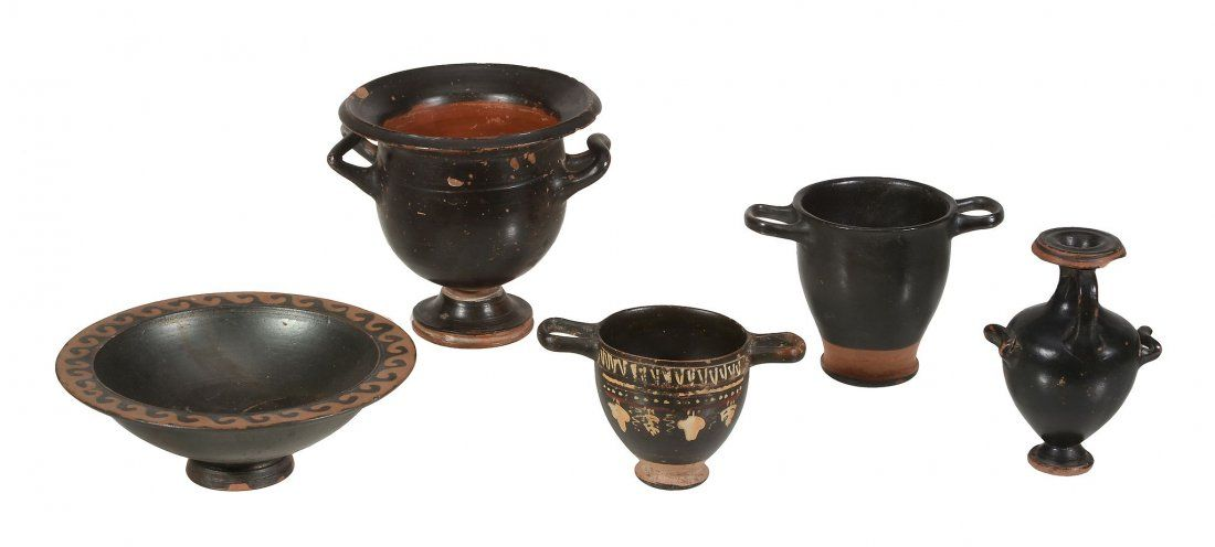 Five black glazed Greek pottery vessels, Greek South