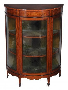 A Satinwood And Marquetry Bow Front Display Cabinet ,