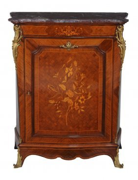A French Marquetry Side Cabinet With Rouge Marble Top,