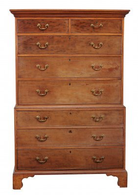 A George Iii Mahogany Secretaire Chest On Chest , Circa