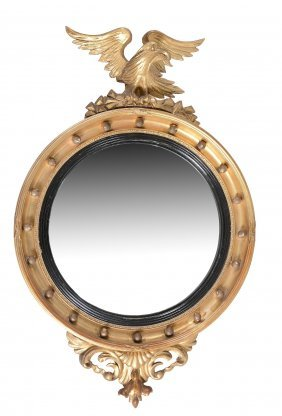 A Giltwood Convex Wall Mirror In Regency Style , 19th