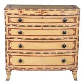 A Painted Bowfront Chest Of Drawers , Early 19th
