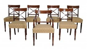 A Set Of Seven Regency Mahogany Dining Chairs , Circa