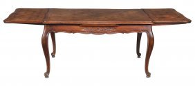 A French Oak Parquetry Dining Table , 19th Century
