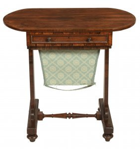 A Late Regency Rosewood And Brass Inlaid Work Table,
