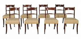 A Set Of Eight Mahogany Dining Chairs In Regency Style