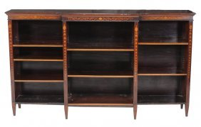 An Edwardian Inlaid Mahogany Breakfront Bookcase ,