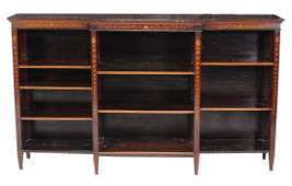 An Edwardian inlaid mahogany breakfront bookcase