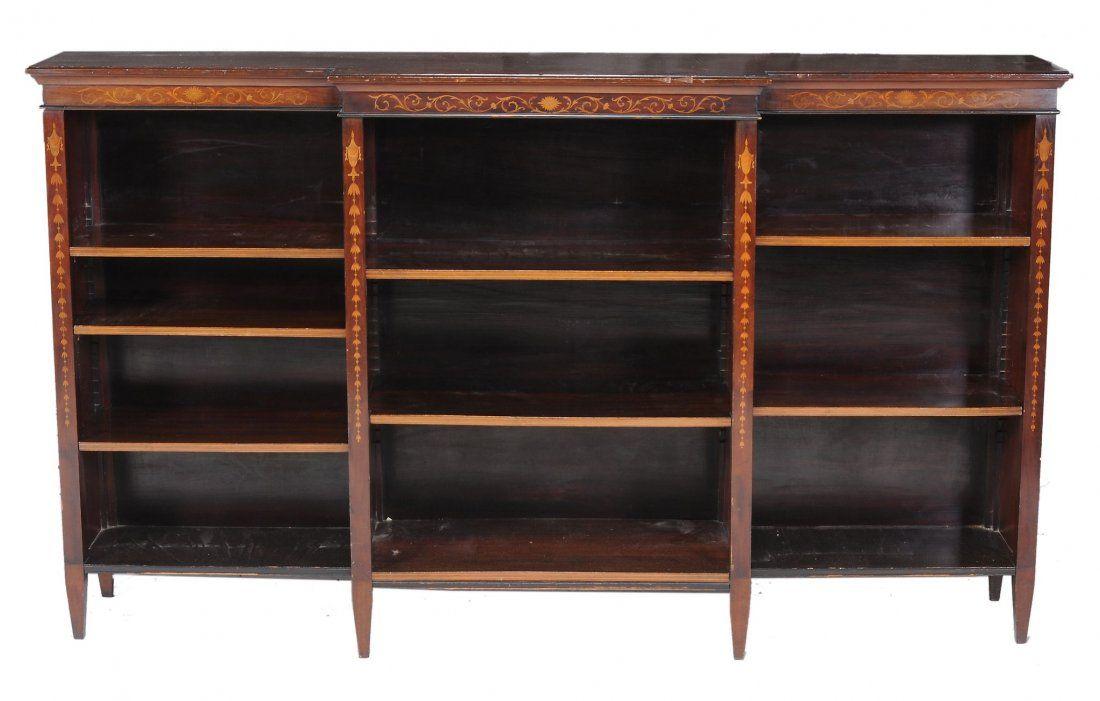 An Edwardian inlaid mahogany breakfront bookcase ,
