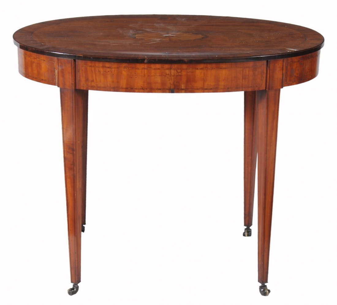 A George III satinwood, marquetry and goncalo alves