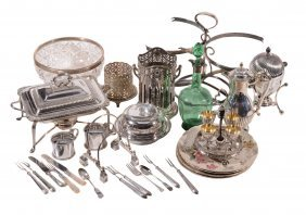 A Silver Collared Green Glass Decanter And A Collection