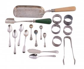 A Collection Of Silver Flatware And Napkin Rings,