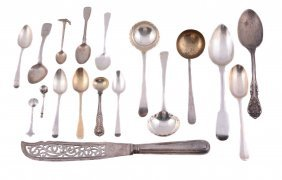 A Collection Of Silver And Silver Coloured Flatware, To