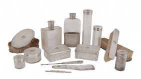 A French Silver Mounted Dressing Table Set, Import Mark