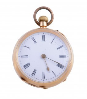 A Swiss 18 Carat Gold Keyless Wind Open Face Pocket