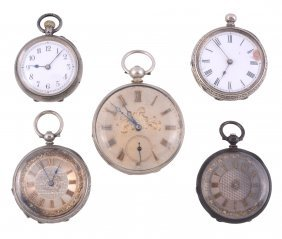 A Collection Of Open Face Pocket Watches, To Include