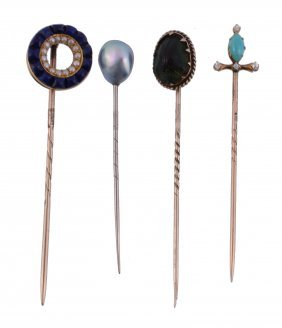 A Late Victorian Lapis Lazuli And Seed Pearl Stick Pin,