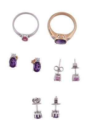 An Amethyst And Diamond Ring, The Square Cut Facetted