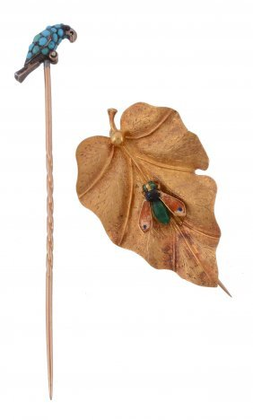 A French Gold Bug And Leaf Brooch , Circa 1900