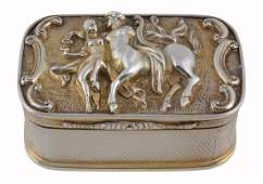 A George IV silver gilt oblong table snuff box by