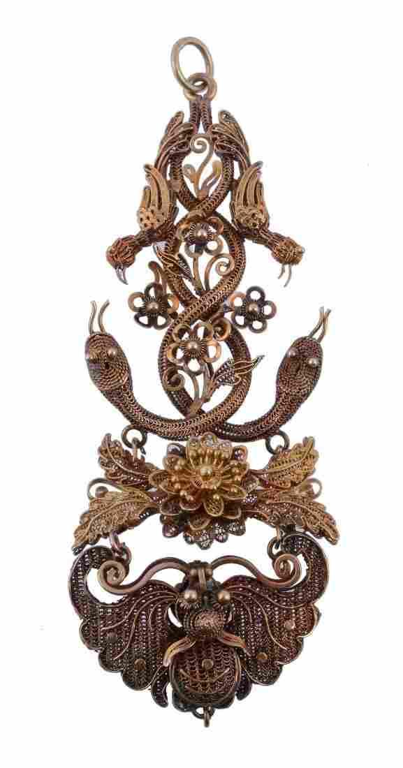 A mid 19th century Oriental gold coloured filigree