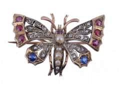 A ruby, diamond, sapphire, and pearl butterfly brooch,