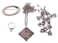 A silver coloured Danish necklace by Just Andersen,